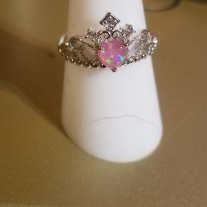 Gorgeous princess crown pink opal 925 ring